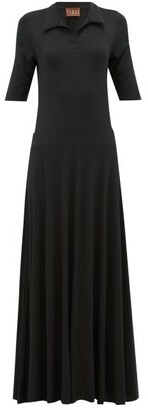 ALBUS LUMEN Azul Polo-shirt Jersey Maxi Dress - Black