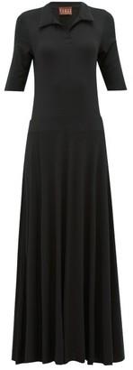 ALBUS LUMEN Azul Polo-shirt Jersey Maxi Dress - Womens - Black