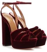 Aquazzura Mira Velvet Platform Sandals