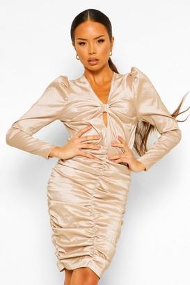 boohoo Satin Ruched Bow Detail Mini Dress