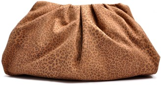 Ostwald Finest Couture Bags Smooth Clutch Large In Leoprint & Cognac