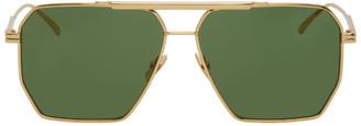 Bottega Veneta Gold and Green Navigator Sunglasses
