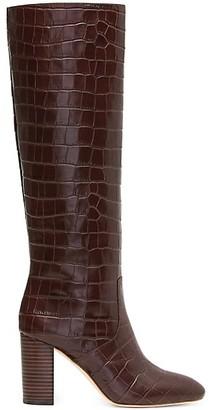 Loeffler Randall Goldy Knee-High Croc-Embossed Leather Boots
