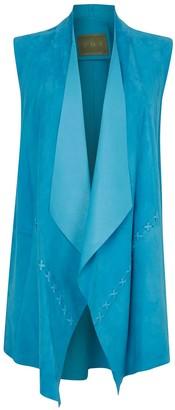 Zut London Suede Leather Sleeveless Jacket -Turquoise