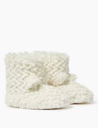 Marks and Spencer Kids' Faux Fur Slipper Boots (5 Small - 6 Large)