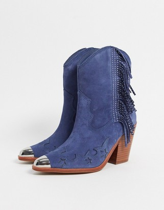 Aldo desert star leather heeled western boots in blue