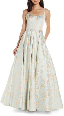 Mac Duggal Square Neck Floral Jacquard Prom Dress