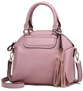 Mn&Sue Medium Urban Women Textured Pebbled PU Leather Top Handle Bag Boutique Tassels Dome Shell Satchel