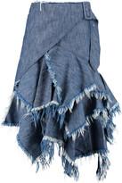 Marques Almeida Marques' Almeida Frayed ruffled wrap denim skirt
