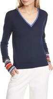 Veronica Beard Avory Contrast Cuff Merino Wool Blend Sweater