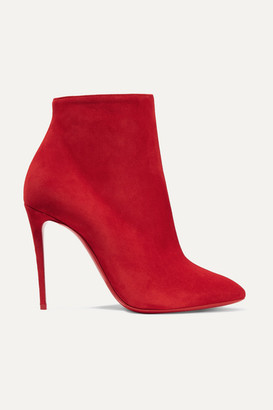 Christian Louboutin Eloise 100 Suede Ankle Boots - Red