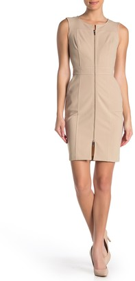 Modern American Designer Sleeveless Zip Front Sheath Dress