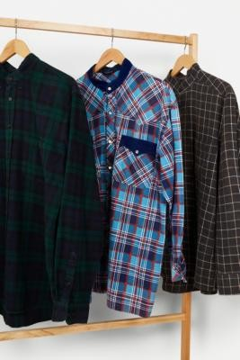 Urban Renewal Vintage Remade From Vintage Check Grandad Collar Shirt - Assorted S/M at Urban Outfitters