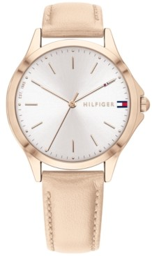 Tommy Hilfiger Women's Champagne Leather Strap Watch 36mm, Created for Macy's