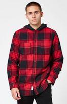 Modern Amusement Hooded Flannel Long Sleeve Button Up Shirt
