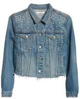 GRLFRND Eve Faux Pearl & Crystal Embellished Crop Denim Jacket