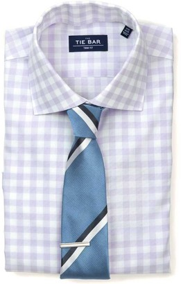 The Tie Bar Lavender Large Gingham Textured Non-Iron Shirt