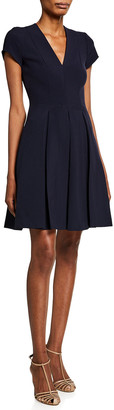 Emporio Armani Short-Sleeve Cady Pleated-Skirt Dress