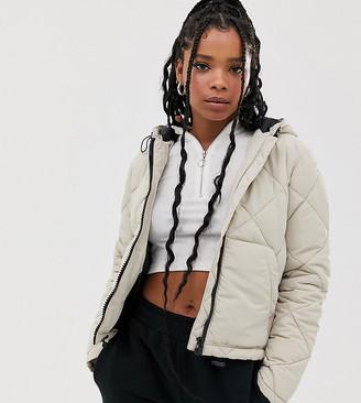 Noisy May grid padded hooded jacket-Copper