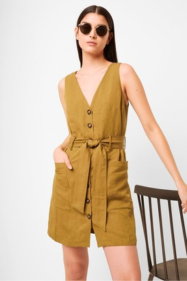 French Connection Yester Linen Button Front Sleeveless Dress