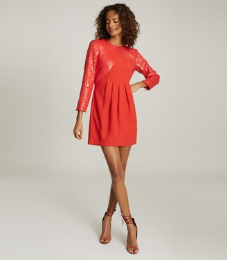 Reiss Cara - Sequin Mini Dress in Red