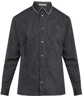 Bottega Veneta Piped-collar pinstriped shirt