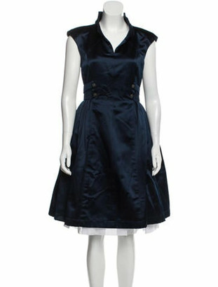 Chanel Silk Knee-Length Dress Navy