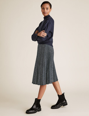 Marks and Spencer Jersey Polka Dot Pleated Midi A-Line Skirt