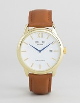 Reclaimed Vintage Inspired Date Leather Watch In Brown/Gold