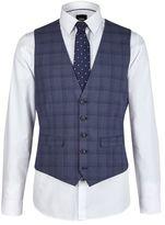 Burton Burton Slim Fit Blue Prince Of Wales Check Waistcoat