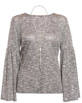 Quiz Grey Light Knit Ruffle Sleeve Necklace Top