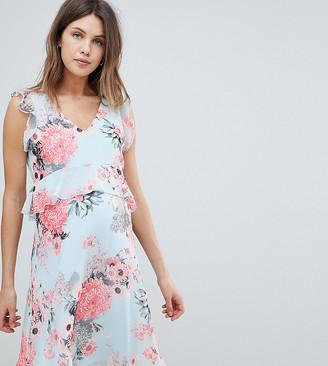Mama Licious Mamalicious floral mini tea dress in blue