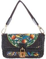 Dolce & Gabbana Raffia & Leather Shoulder Bag