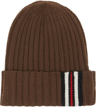 Burberry Icon Stripe Detail Rib Knit Wool Beanie