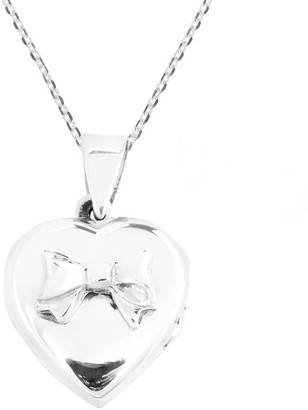 Aeravida Handmade Adorable Valentine Bow on Heart Sterling Silver Locket Necklace