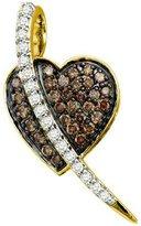 DazzlingRock Collection 0.53 Carat (ctw) 10k Yellow Gold & White Diamond Ladies Micro Pave Heart Pendant