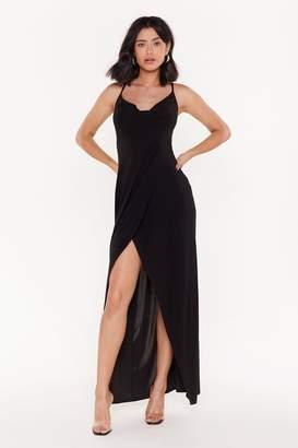 Nasty Gal Womens Don't Slip Up Cowl Neck Maxi Dress - black - 12