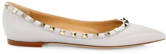 Valentino Garavani Rockstud Point-Toe Leather Ballerina Flats