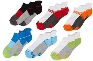 Jefferies Socks Sport Tab 1/2 Cushion Low Cut Socks 6-Pack (Toddler/Little Kid/Big Kid) (Multi) Boys Shoes
