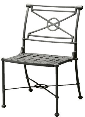 """Caruso Woodard Delphi Patio Dining Chair Woodard Cushion Color Seaglass, Frame Color: Textured Black, Seat Height: 20.5"""""""
