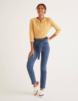 Boden Tie Waist Straight Jeans