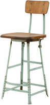 Rejuvenation Industrial Stool w/ Blue Painted Base c1925
