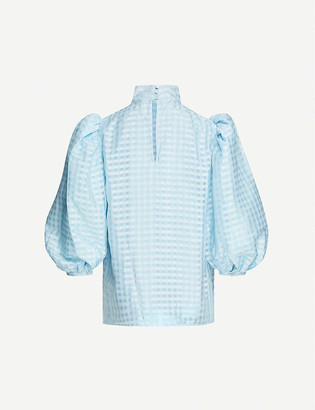 Stine Goya Birgitte gingham-print puff-sleeve crepe blouse