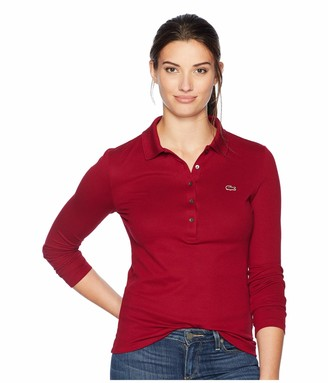 Lacoste Womens Long Sleeve Slim Fit Stretch Mini Pique Polo Polo Shirt