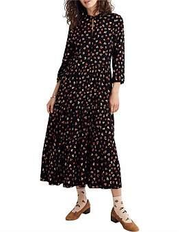 Madewell Leopard Floral Print Tiered Midi Dress