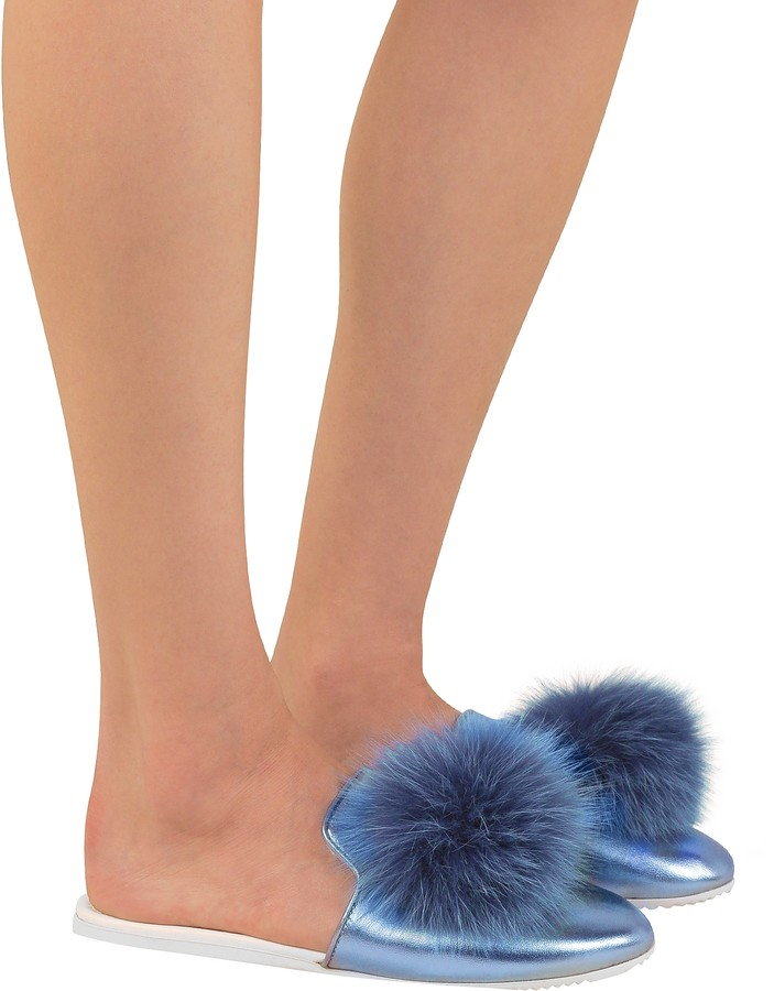 Thumbnail for your product : Joshua Sanders Blue Laminated Leather Pom Pom Mule