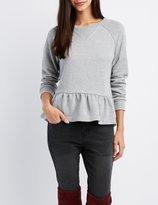 Charlotte Russe Peplum Tie-Back Sweatshirt