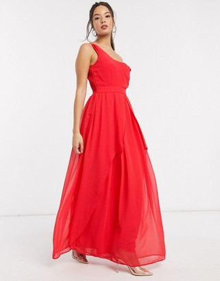 Little Mistress Libra one shoulder maxi dress in fiery coral
