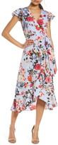 Vince Camuto Floral Wrap Front A-Line Crepe de Chine Dress