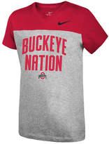 Nike Girls' Ohio State Buckeyes Color Block Phrase T-Shirt